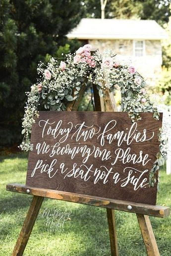 Wooden Wedding Seating Sign, Pick a Seat Not a Side Sign, Rustic Wedding Sign, No Seating Plan, Wood Wedding Signs, Ceremony Decor, Q3 QS