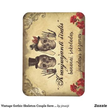 Vintage Gothic Skeleton Couple Save The Date Magnet | Zazzle.com