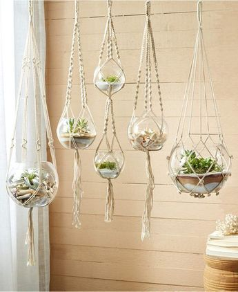 Twos Company Two's Company Set of 5 HandCrafted Macrame Plant Hangers