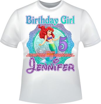 The Little Mermaid Birthday Girl Iron On Transfer Personalized DIY Shirt Mommy