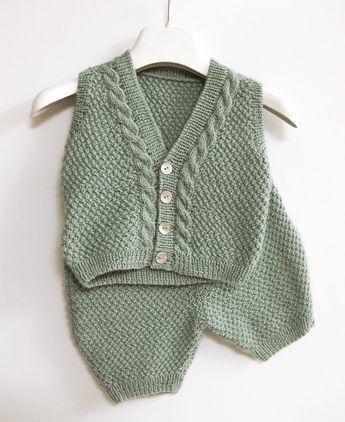 Ensemble pour bébé garçon en laine DMC - La Malle aux Mille Mailles