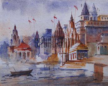 $149 USD. Original handmade painting of a Benares Ghat by Sandeep Verma