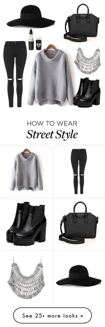 """""""Street style/casual"""" by chloebreann on Polyvore featuring Topshop, Eugenia Kim, Givenchy and Voom"""