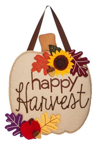 """Harvest Pumpkin Burlap Door Decor - 21"""" x 26"""" - Evergreen"""