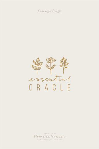 Handdrawn line art botanical illustrations for Essential Oracle branding by Blush Creative Studio | nature-inspired handlettered logo design