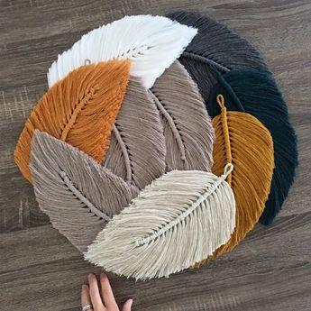 Grande Macramé Feather Wall Charm