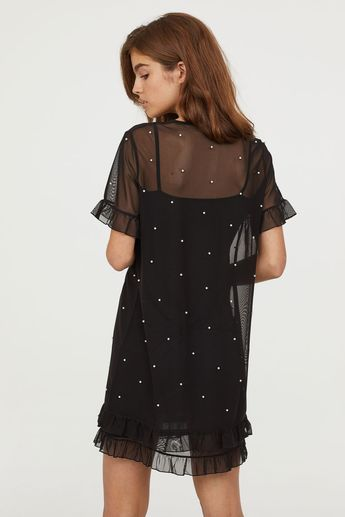 Mesh Dress with Beads
