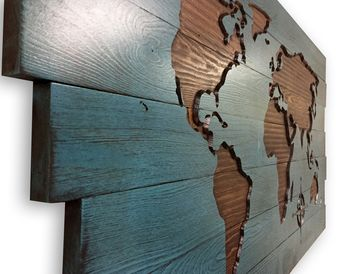 World Map Wall Decor, Wood Wall Art, Push Pin Map, Travel Decor, Adventure, Wanderlust, Carved, 3D Wall Art, Map with Compass, Continents