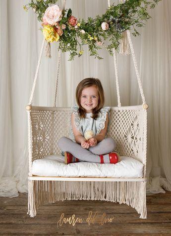 Macrame Hanging Chairs in Cream