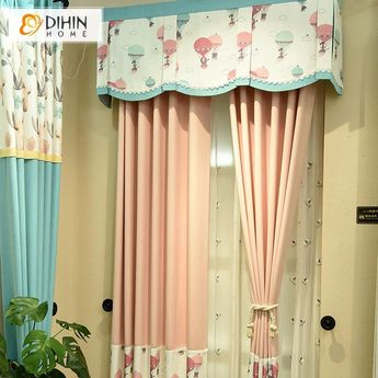 DIHIN HOME Red and Pink Fire Balloon Printed,Blackout Curtains Grommet Window Curtain for Living Room ,52x84-inch,1 Panel