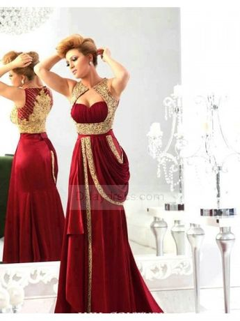 Arabic Sweetheart Satin burgundy Gold Embroidery Crystals Prom Dress ItemBg0047