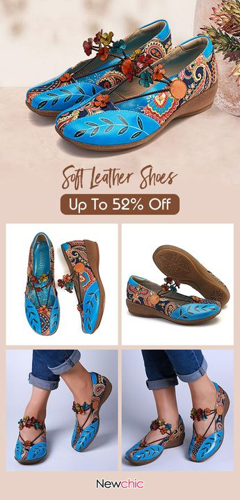 SOCOFY Folkways Pattern Genuine Leather Splicing Jacquard Comfortable Elastic Band Flat Shoes.