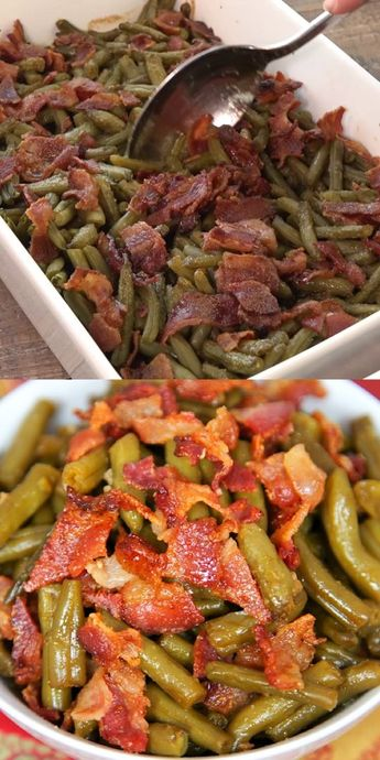 Smothered Green Beans - canned green beans baked in bacon, brown sugar, butter, soy sauce and garlic. This is the most requested green bean recipe in our house. Everybody gets seconds. SO good!! Great for a potluck. Everyone asks for the recipe! Super easy to make. #sidedish #greenbeans #video #cookingvideo #recipevideo #casserole