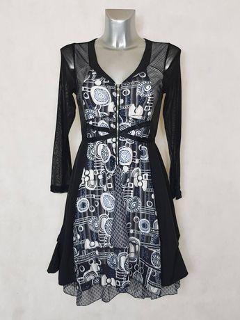 c274d21afb023  Robe femme  évasée motif  abstrait noir et blanc manches longues en  résille taille