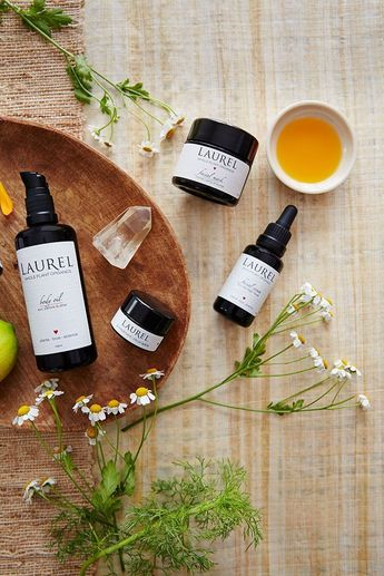 Still life product photography from rebranding ad campaign for Laurel Whole Plant Organics  skincare line.  Styling by Laura Cook. Photo by San Francisco still life photographers  Trinette+Chris.