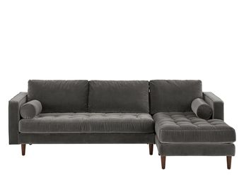 Made 4 Seater Chaise End Corner Sofa Concrete Cotton Velvet Grey Express Delivery