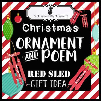 Christmas Ornament Craft and Poem - Red Sled Gift Idea