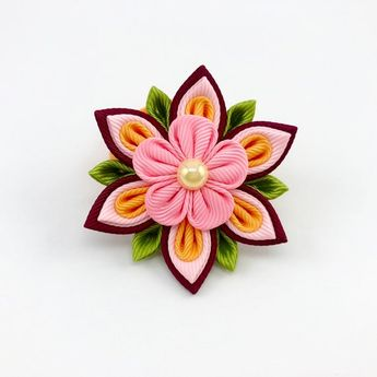 Kanzashi Flowers, Ponytail Holders or Hair Clip, Toddler Hair Elastics, Piggy Tail Holders, Available in different colors
