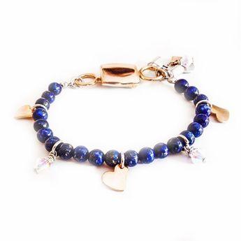 Lapis lazuli gem stone bracelet with rose gold charms