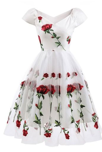 Rose Embroidered Off-the-shoulder Graduation Dress