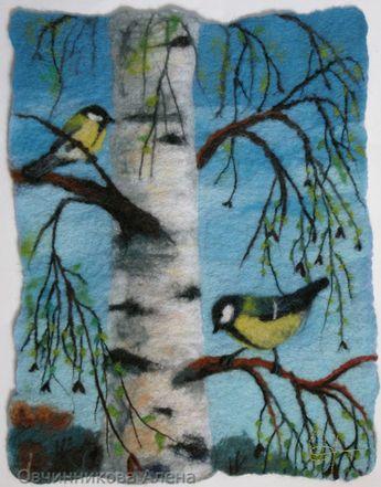 Wol schildering vogels in berkenboom Wool painting birds in tree Wollbilder