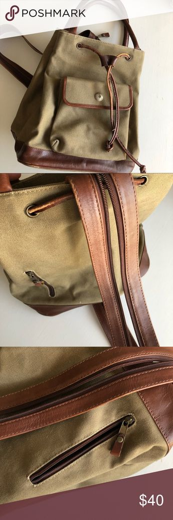 dd164be0b88c ▫️vintage▫️canvas   leather backpack purse Rustic   casual vintage 90 s  backpack purse.