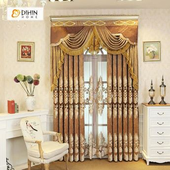 DIHIN HOME Exquisite Brown Embroidered Brown Valance,Blackout Curtains Grommet Window Curtain for Living Room ,52x84-inch,1 Panel