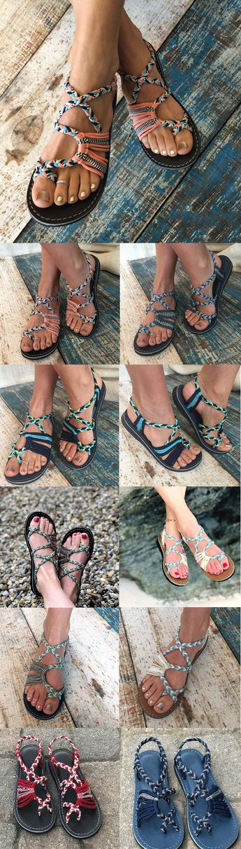 $26.99 USD Summer Handmade Breathable Bandage Beach Flat Sandals