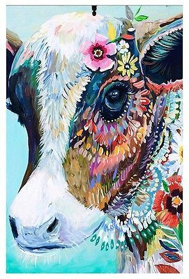 The Coloured Drawing Cow Theme Decorative House Banner Double-sided Garden Flag