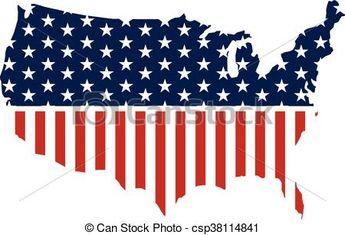 United States patriotic map graphic. Vector design illustration - csp38114841