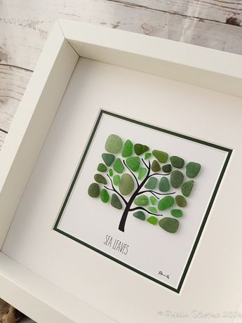 Seaglass Art - Seaham - Beach Picture - Wall Art - Tree Art - Family Gift - Living Room - Beachhouse - Kitchen - Birthday