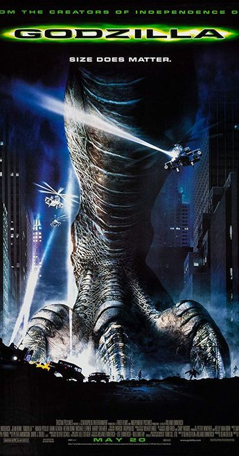 Directed by Roland Emmerich.  With Matthew Broderick, Jean Reno, Maria Pitillo, Hank Azaria. A giant, reptilian monster surfaces, leaving destruction in its wake as it strides into New York City. To stop it, an earthworm scientist, his reporter ex-girlfriend, and other unlikely heroes team up to save their city.