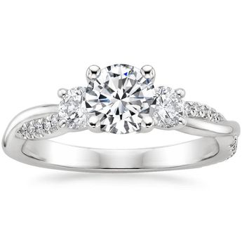 Heart Cut Three Stone Petite Twisted Vine Three Stone Diamond Engagement Ring - Platinum (Setting Price)