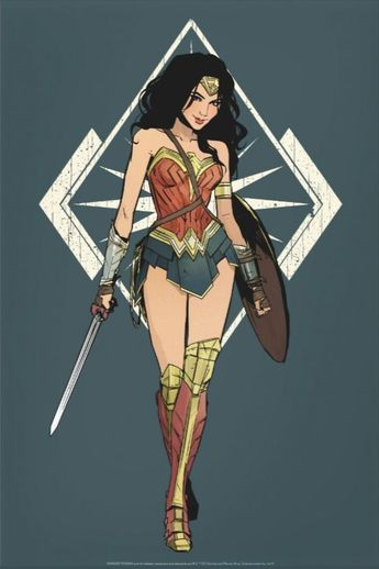 Wonder Woman With Sword Comic Art Poster | Zazzle.com