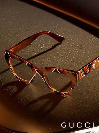 d566bae1e80 Chevron patterned glasses appear in the new Gucci Eyewear campaign.