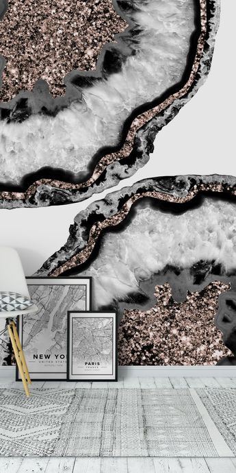 Yin Yang Agate Glitter Glam 2 Wall Mural / Wallpaper Art