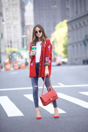 embroidered red cardigan + red heels #SomethingNavy