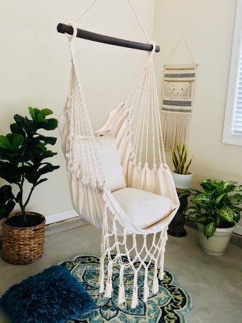 JUNIOR Off White Macrame Hammock Swing Chair + 2 Pillow SET Boho Cotton Canvas Indoor & Outdoor Hanging Chair TEEN