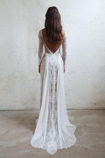 Robes de mariée bohème dentelle française dentelle française à manches longues robe boho chic dos ouvert ... ,  #boheme #dentelle #longues #manches #mariee #robes