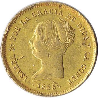 Moneda de oro 100 Reales Isabel II 1855 Madrid.