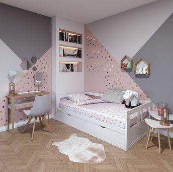 Chambre d'enfant contemporaine rose blanche beige bois: inspiration style Contemporain