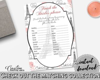 paris bridal shower finish the brides phrase game in pink and gray read brides mind