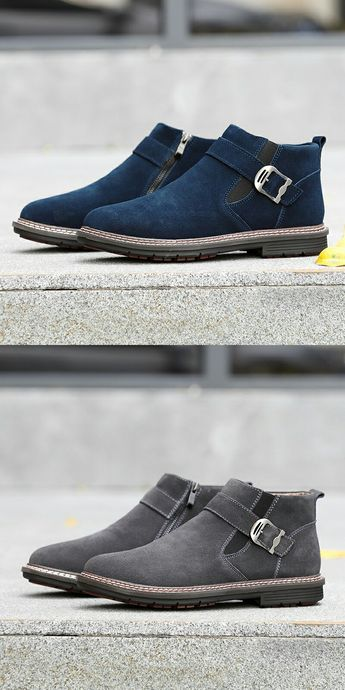 Prelesty Men Winter Snow Boots Keep Warm Plush Ankle Work Shoes