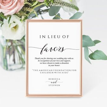 Printable In Lieu Of Favors Wedding Sign   Pretty Wedding Donation Sign Template   Wedding Charity Sign Instant Download
