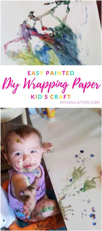 Easy Painted DIY Wrapping Paper Kid's Craft