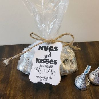Select Amount 100 - 300 Unique Hugs and Kisses from the New Mr. and Mrs. Custom Winter Wedding Favor