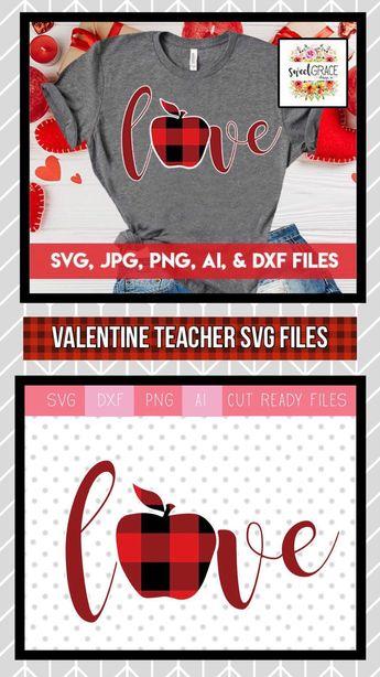 Teachers Valentine SVG. Buffalo Plaid Apple SVG Design Valentine's Day. Teacher Valentine Shirt SVG. Heart /Apple/ Buffalo Plaid Cut Files