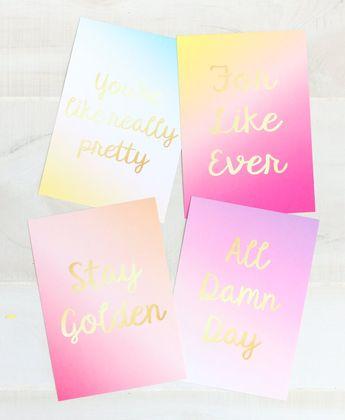 "Gradient Art Print Set- Four 5""by 7"" Gradient Art Prints in Coordinating Colors - Faux Gold Foil Typography"