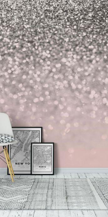 Silver Blush Glitter 1 Wall Mural / Wallpaper Abstract