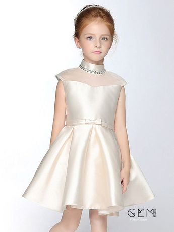 Flower Girl Dresses High Beaded Collar Taffeta Champagne Flower Girl Dress with Bow Sash #EFS28 at GemGrace. View more special Flower Girl Dresses now? #GemGrace To buy delicate gowns at affordable prices. Over 399 new styles added, shop now to get $5 off! All free shipping!